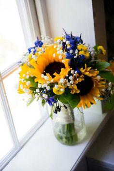 Yellow Sunflowers, Yellow Button Mums, Blue Delphinium, White Gypsophila & Greenery Wedding Bouquet