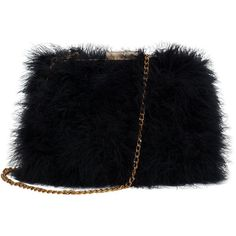 Zarapack Womens' Genuine Fluffy Feather Fur Clutch Shoulder Bag... ($55) ❤ liked on Polyvore featuring bags, handbags, shoulder bags, fur purse, black fur handbag, black shoulder bag, fur handbag y black purse
