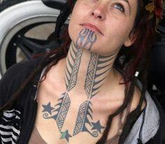 Amazing Neck Tattoo for Women