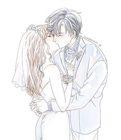 "complexwish: ""Jumin and mc wedding kiss. I rarely draw kissing scenes… need more practice! """
