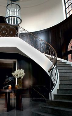 Interior, : Good Looking Christian Liaigre Book Interior Decoration Using Home Black Wainscoting Wall Along With Luxury Curve Staircase And Brown Metal Iron Railing Interior Exterior, Home Interior, Interior Architecture, Interior Decorating, Interior Design, Interior Paint, Interior Ideas, Wainscoting Stairs, Painted Wainscoting