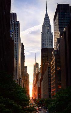 Manhattanhenge, Sunset, New York City, NY