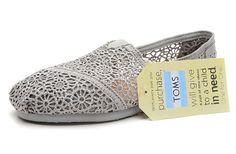 Toms Womens Lace Crochet Shoes Grey