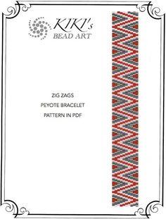 Zig zags peyote bracelet pattern in PDF instant by KikisBeadArt