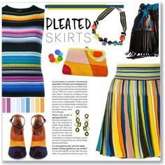 Pleated Skirts in Multi Stripes Fun by feelgood35 on Polyvore featuring Missoni, Malone Souliers, STS Ranchwear, Emilio Pucci, Tina Frey Designs and Disney
