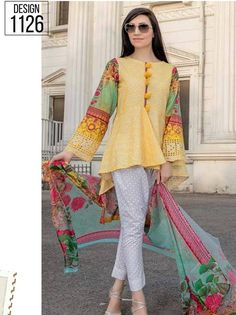 49480ec163 Irma digital Embroided lawn collection 2018 (D 1126) - Umar Poshak Mehal  Bell Sleeves