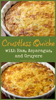 Easy and healthy crustless quiche recipe with ham, asparagus, and cheese. The asparagus can easily be replaed by broccoli or spinach so that this low carb, high protein quiche can be enjoyed any time (Broccoli Recipes Quiche) Ham Quiche, Low Carb Quiche, Asparagus Quiche, Breakfast Quiche, Asparagus Recipe, Breakfast Time, Breakfast Dishes, Breakfast Recipes, Frittata