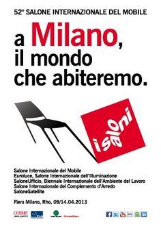 Il Salone del Mobile di Milano torna il 9 aprile!    E se state cercando una sistemazione a Milano per quella settimana vi segnalo un annuncio con l'offerta di un loft messo a disposizione GRATUITAMENTE da un appassionato di design! O.o