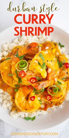 This fresh and homemade South African style shrimp curry in a tomato and coconut milk sauce is filled with spice and flavour! Made from scratch, but easy to make, this curry is naturally healthy, gluten free and low carb when served with cauliflower rice. Keto Shrimp Recipes, Curry Recipes, Easy Chicken Recipes, Easy Dinner Recipes, Meat Recipes, Whole Food Recipes, Breakfast Recipes, Healthy Recipes, Quick Weeknight Meals