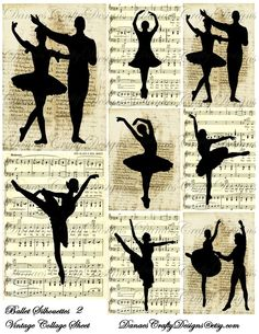 Vintage Ballet Silhouettes Collage Sheet 2 on Music and Script Backgrounds - Instant Download - Bonus Sheet My Treat
