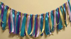 Turquoise Gold Lavender and Purple Ribbon Garland Perfect for Aladdin Princess Jasmine Birthday Party or also perfect colors for Mermaid or Under the Sea party!