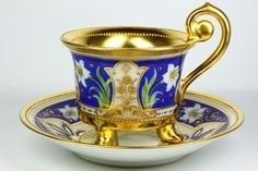 ~~ Dresden A. Lamm Cup and Saucer ~~Mark : Dresden Ambrosius Lamm Studio ( in business in Dresden Porcelain, Fine Porcelain, Tea Cup Set, Tea Cup Saucer, Dresden China, Dresden Germany, Antique Tea Cups, China Tea Cups, Teapots And Cups