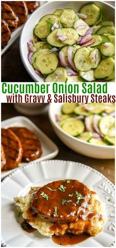 Cucumber Onion Salad with Salisbury Steak and Cream Cheese Mashed Potatoes via @CourtneysSweets