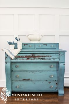 Custom mixed MMS Milk Paint empire dresser makeover- flow blue and shutter gray Redo Furniture, Milk Paint Furniture, Furniture Diy, Furniture Projects, Blue Painted Furniture, Furniture Inspiration, Empire Furniture, Empire Dresser, Empire Dresser Makeover