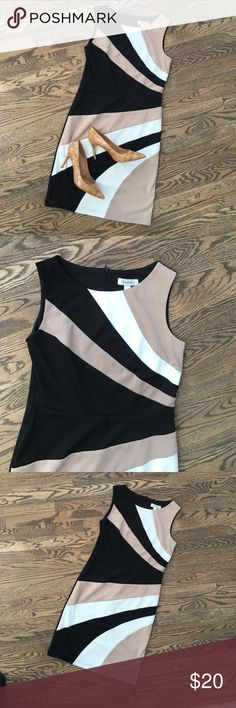 Dress Barn knit sheath dress Colorblock Dress Barn knit sheath dress. Has chain-stitched thread type belt loops (no belt included). Medium-heavyweight knit. Front lined. Like new.  Shoes are also for sale separately. Dress Barn Dresses