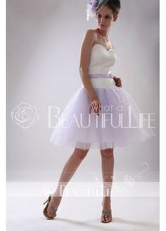 $212.99  White And Lilac Sweetheart A-Line Satin And Tulle Short #Homecoming #Dress With Sash