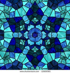 stock photo : Stained glass six pointed star in shades of blue.