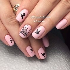 Animal nails Autumn nails with a pattern Bird nail art Bird nails Black and pink nails Drawings on nails Fall nail ideas Fall nails 2016 Nail Art Design Gallery, Best Nail Art Designs, Dark Nails, Blue Nails, Green Nails, Bird Nail Art, Nail Color Combinations, Pink Manicure, Pink Nail