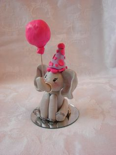 Elephant Birthday Cake Topper Polymer Clay by Creations of Clay