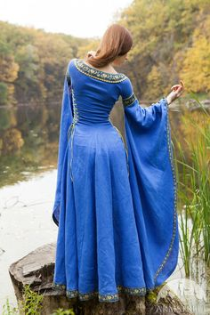 Blue Dress Lady of the Lake medieval dress linen by armstreet