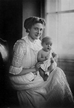 Her Royal Highness Princess Franz of Bavaria (1890-1982) née Her Illustrious Highness Princess Isabella Antonie of Croÿ, with Prince Ludwig of Bavaria (1913–2008)