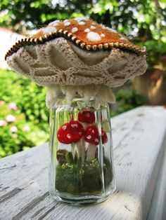 Love this: Felt, lace, zippers and a vintage sugar jar!