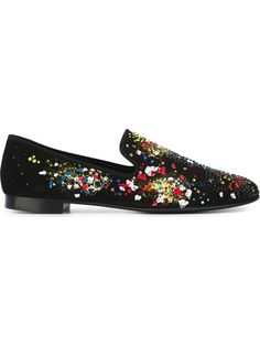 GIUSEPPE ZANOTTI Embellished Loafers. #giuseppezanotti #shoes #flats