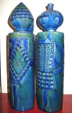 Ceramics  : Giant Vintage Italian Ceramic Figures Rimini Blue Bitossi Fratelli Raymor Era. I