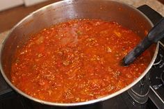 I made this Freezer Spagetti Sauce with FRESH tomatoes from our garden - it didn't quite make as much as the recipe said because the consistency was watery so we cooked it longer in the crockpot to reduce it. Very tasty though!!!