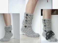 Amazing from Pinterest: CROCHET Pattern SLIPPERS, WOOLY Boot Slippers