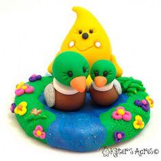 Parker's Mallard Duck Friend Figurine - A Polymer Clay StoryBook Scene by KatersAcres