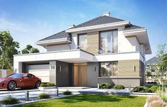 Projekt domu Oszust 2 136,4 m2 - koszt budowy 224 tys. zł - EXTRADOM One Storey House, 2 Storey House Design, Bungalow House Design, Minimalist House Design, Modern House Design, Morden House, House Plans Mansion, House Construction Plan, Best Architects