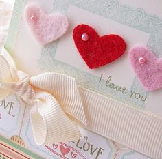 felt hearts with pearls...
