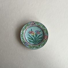 Vintage Ring Dish 1920s Purple Flowers with Blue / Vintage Jewelry Dish / Brass Enamel China / Cute Ring Holder / Boho Decor / Wedding Gift