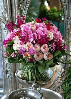 Arrange like bouquet, stand on wide vase for water nourishment Floral Bouquets, Wedding Bouquets, Wedding Flowers, Wedding Centerpieces, Pink Bouquet, Purple Bouquets, Tall Centerpiece, Bridesmaid Bouquets, Boquet