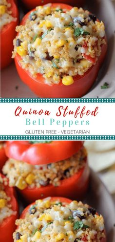 The whole family will go nuts for these Vegetarian Quinoa Stuffed Peppers! They… The whole family will go nuts for these Vegetarian Quinoa Stuffed Peppers! They are a great easy and healthy meal that won't compromise your diet! Tasty Vegetarian Recipes, Vegetarian Recipes Dinner, Veggie Recipes, Cooking Recipes, Vegetarian Breakfast, Going Vegetarian, Simple Healthy Recipes, Dinner Ideas Healthy, Family Vegetarian Meals