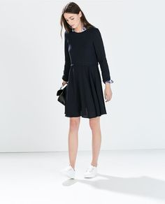 Image 1 of LONG-SLEEVED FLARED DRESS from Zara