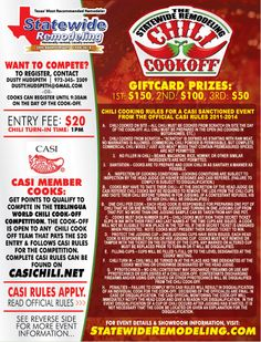 Official rules for Statewide Remodeling's Chili Cook-Off & Open House - February Dallas, TX. Church Fundraisers, Official Rules, Wounded Warrior Project, Chili Cook Off, Fall Fest, February 1, Fundraising Ideas, Fire Department, Scouts