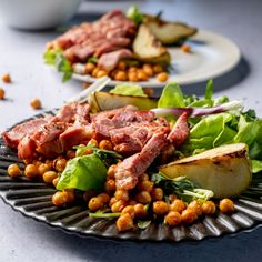 Light Sunday lunch loading. Roasted Pear, Spinach Leaves, Chickpea Salad, Cobb Salad, Fries, Steak, Spicy, Pork, Sunday