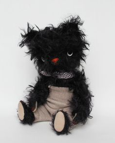 black mohair bear by foxandowl on Etsy  could I make something like this??
