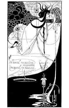 Aubrey Vincent Beardsley - J'ai baise ta bouche, Iokanaan Salome with the head of John the Baptist. Why is Salome so … ugly? Art And Illustration, Art Illustrations, Art Nouveau, Art Deco, Ex Libris, Harry Clarke, Japanese Woodcut, Aubrey Beardsley, Oscar Wilde