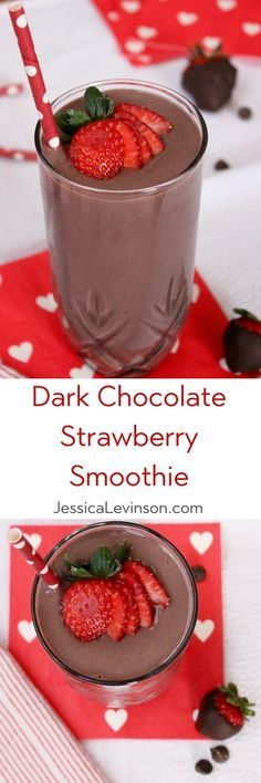 Dark chocolate, creamy greek yogurt, and sweet strawberries are the perfect combination in this frosty heart healthy Valentine's Day Dark Chocolate Strawberry Smoothie. Get the vegetarian and gluten-f (Dark Chocolate Smoothie) Yummy Drinks, Healthy Drinks, Healthy Snacks, Yummy Food, Easy Smoothies, Smoothie Drinks, Yogurt Smoothies, Healthy Dessert Smoothies, Vegetarian Smoothies
