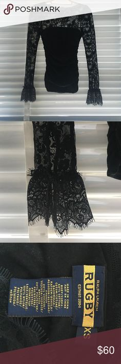 Ralph Lauren black lace long sleeve top Ralph Lauren black lace long sleeve top. Rusched sides. Intricate detail on the bottom of the sleeve Ralph Lauren Tops Tees - Long Sleeve