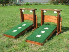One pair of 3 hole washer toss boards with backstop & drink holders. The boards can be played in the flat position or on an incline. The backstops and the washer boards stand on their own. The washer boards have feet similar to a cornhole board, just pop them out and your ready to