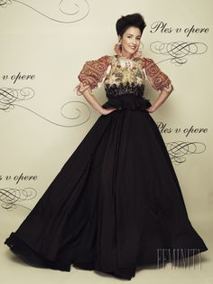 ball gown inspired by slovak folk culture... LOVE the sleeves and collar!