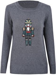 Dark Grey Long Sleeve Robot Pattern Knit Sweater - Sheinside.com