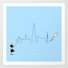 Hamburg Skyline Kite Art Print by keindesign Buy Frames, Kite, Travel Posters, Printing Process, Gallery Wall, Skyline, Art Prints, Products, Hamburg