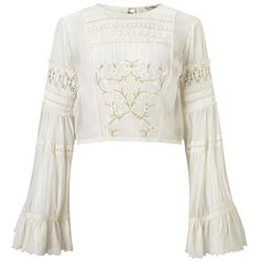 Miss Selfridge Embroidered Bell Sleeve Blouse ($85) ❤ liked on Polyvore featuring tops, blouses, shirts, crop tops, cream, white blouse, white crop shirt, white crop top, white shirt and embroidery blouses
