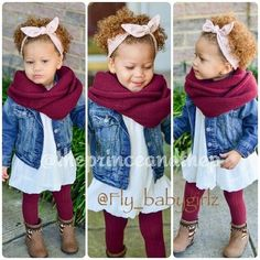 This outfit is too cute, except that huge scarf that the little girl is swimming in why do people put such huge scarves on little girls!!!!