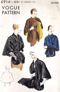 EVENING Cape Vintage Sewing Pattern by MissBettysAttic -- nice neckline; perhaps go on and add a mandarin collar? 1950s Dress Patterns, Vogue Sewing Patterns, Coat Patterns, Vintage Sewing Patterns, Clothing Patterns, Vintage Fashion 1950s, Vintage Coat, Mode Vintage, 50s Vintage